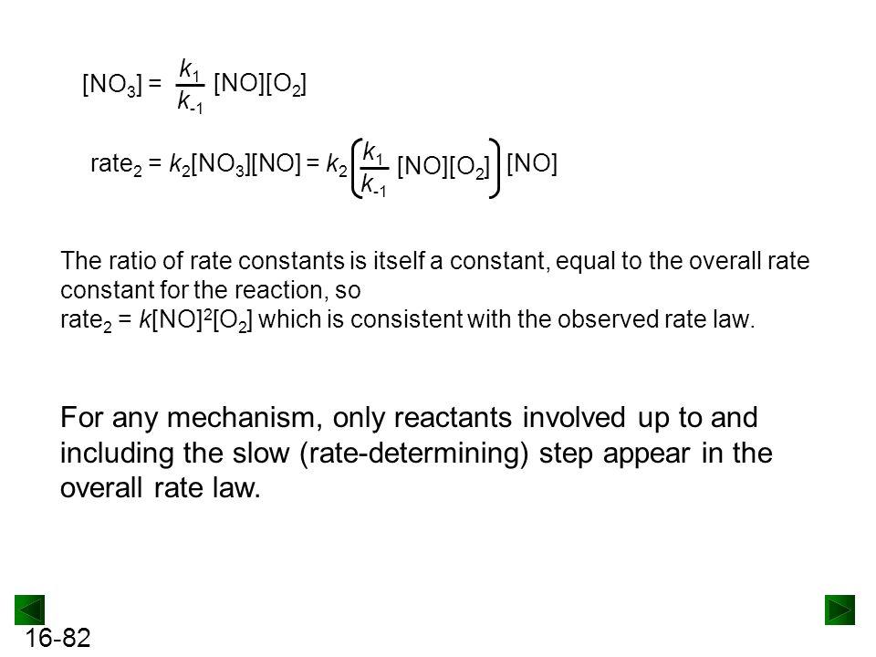 [NO3] = k1. k-1. [NO][O2] rate2 = k2[NO3][NO] = k2. k1. k-1. [NO][O2] [NO]